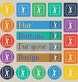 Golf icon sign Set of twenty colored flat round vector image