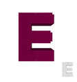 3d pixelated capital letter e 3d front view vector image vector image