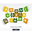 Abstract ecology background with connected color vector image vector image