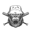 angry gorilla head in panama hat vector image vector image
