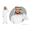 arab man character is talking on the phone vector image vector image