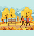 autumn park with a bench and a walking couple vector image