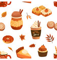 autumn seasonal pastry and drink flat vector image