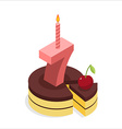 Birthday 7 years Cake and Candle isometrics Number vector image vector image