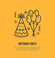 birthday party line icon logo for party vector image vector image