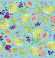 blue pattern with green fox and flowers vector image vector image