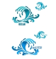 blue wave icons with swirly water drops vector image vector image