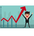 Business man holds in hand to raise the graph vector image