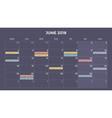 calendar infographic table chart presentation vector image