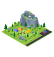 camping site - modern colorful isometric vector image