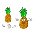 Cartoon tropical yellow pineapple fruit vector image vector image