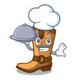 chef with food old cowboy boots in shape character vector image vector image