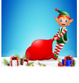 christmas background pulling a bag full of gifts vector image vector image