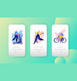 city park sport lifestyle mobile app screen set vector image