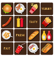 collection of meal and snack and seasoning vector image