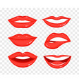 collection of red lips on vector image vector image