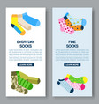 colorful socks dotted stripped and bright vector image