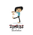 cute walking dead man character in cartoon style vector image vector image