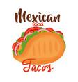 delicious mexican taco icon vector image vector image