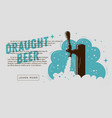 draught beer tap with foam web banner design for vector image vector image