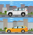 Family universal citycars on road in city vector image vector image