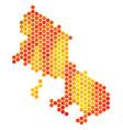 fired hexagon skyros greek island map vector image vector image
