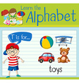 Flashcard letter T is for toys vector image vector image