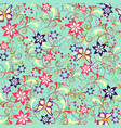 floral seamless pattern with swirl and butterflies vector image