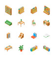 furniture for library 3d icons set isometric view vector image vector image