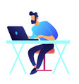gamer with laptop sitting at desk vector image vector image
