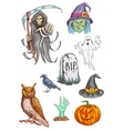 Halloween Part invitation card sketched elements vector image