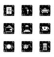 Hostel accommodation icons set grunge style vector image vector image