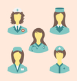 icons set medical nurses in modern flat design vector image