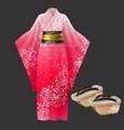 kimono and geta yukata japanese woman dress vector image