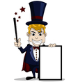 magician cartoon with blank sign vector image vector image