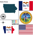 map iowa with seal vector image