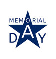 memorial day emblem in the form of a blue star vector image vector image