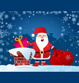 merry christmas flyer santa claus on roof vector image