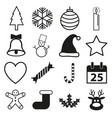 merry christmas icon set vector image vector image