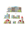 municipal buildings urban houses hotel school vector image vector image