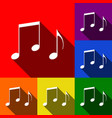 music notes sign set of icons with flat vector image vector image