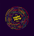 night party rounded lines design vector image