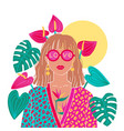 portrait a blond woman in urban jungle vector image vector image