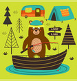 poster bear is fishing on the lake vector image vector image