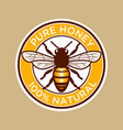 pure honey bee label vector image vector image