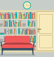 Reading Seats In Front Of A Huge Bookcase vector image vector image