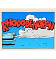 Rhododendron sound motor comic style lettering vector image