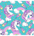 seamless pattern with cute unicorns and comets vector image