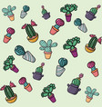 set colorful cactus background vector image vector image