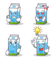 set of milk box character with angry love waiting vector image vector image